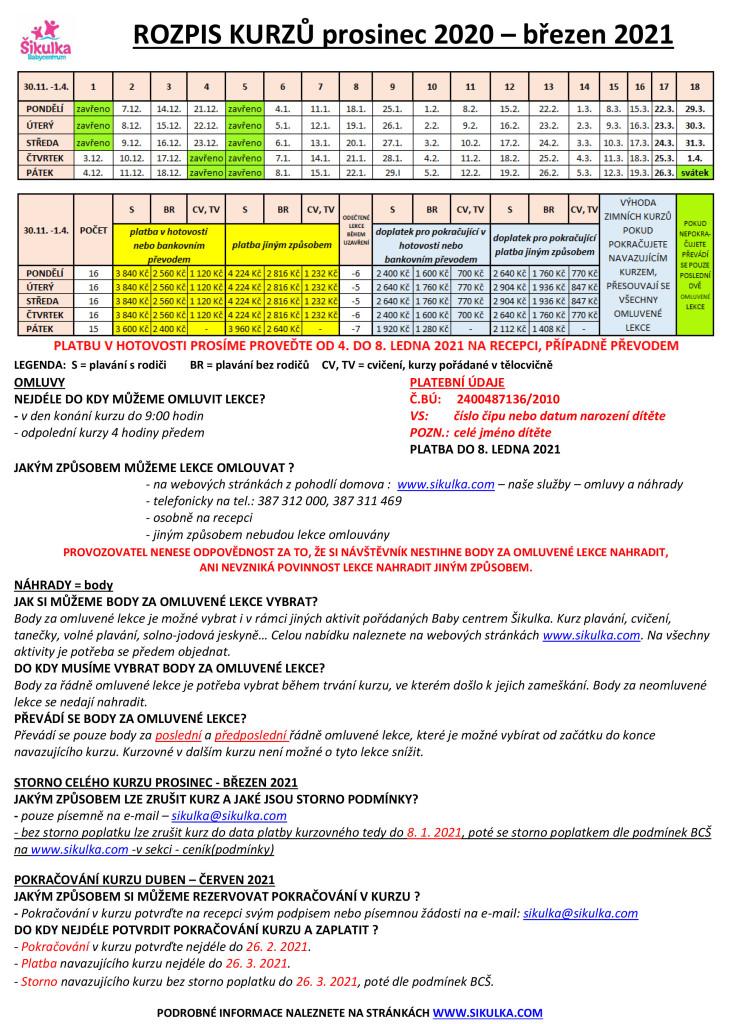 rozpis kurzů LISTOPAD - DUBEN 2021